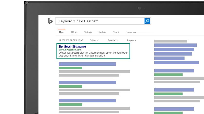 Die Abbildung zeigt eine Vorschau auf Ihre Business Keywords, wie sie auf Bing aussehen können.
